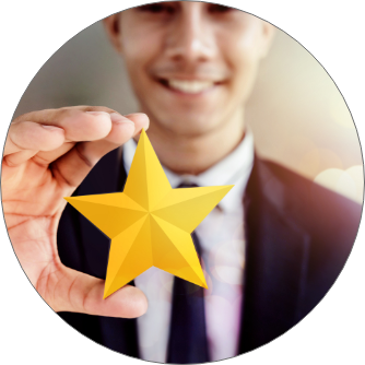 Man holding gold star